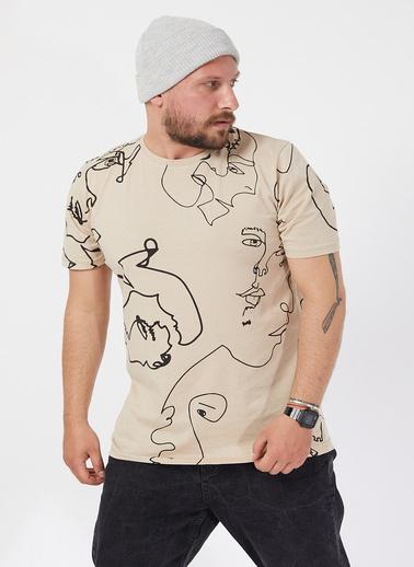 XHAN Krem Desenli T-Shirt 1Kxe1-44587-22 Krem